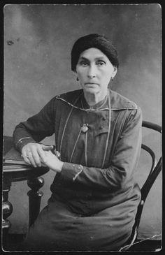 Studio portrait of Sara Zlotnik, the wife of Reb Shlomo Zlotnik.  She died in 1915 during a typhus epidemic.