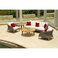 Luxury Sofia Wicker Seater Indoor Outdoor Sofa with Teak Timber Legs and Fabric Cushions