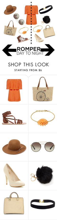 """""""Day To Night: Rompers"""" by olivia548 ❤ liked on Polyvore featuring Alice + Olivia, Straw Studios, Ancient Greek Sandals, George J. Love, RHYTHM, Prada, Versace 19•69, Victoria Beckham, DayToNight and romper"""