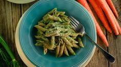 Carrot Top Pesto with Whole Grain Penne. More