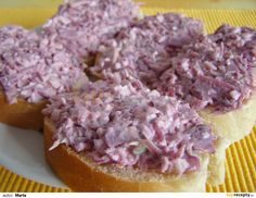 Zelná pomazánka Czech Recipes, Ham, Cabbage, Food And Drink, Beef, Vegetables, Cholesterol, Halloween, Meat