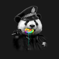 Panda Police - Lollypop Cop T Shirt Niedlicher Panda, Panda Bebe, Panda Art, Cute Panda, Le Dab, Panda Mignon, Funny Animals, Cute Animals, Panda Wallpapers