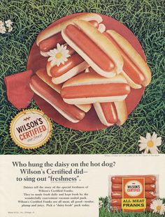 1966 Wilson's Hot Dogs Ad Meat Franks Vintage Food by AdVintageCom