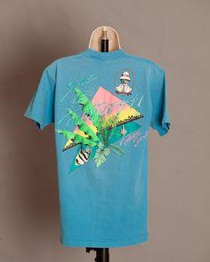 Vintage Panama Jack Tshirt - blue - L on Etsy, men's 80s summer beach fashion