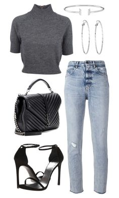 """""""Untitled #20937"""" by florencia95 ❤ liked on Polyvore featuring Golden Goose, Carven, Lydell NYC, Yves Saint Laurent and Stuart Weitzman"""