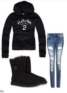 Hollister sweater with ripped jeans and boots!