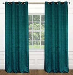 Abstract Floral 54x95-in Raindrops 2-Piece Grommet Top Curtain Set, Peacock Blue…