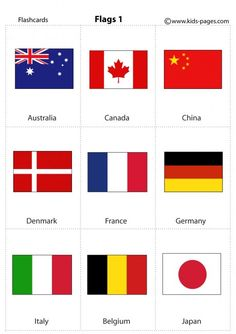 🌎 World Flags 🇫🇷🇬🇧🇮🇹🇺🇸🇩🇪🇯🇵🇪🇸🇷🇺🇨🇳 Toddler Learning Activities, Montessori Activities, Kids Learning, Flashcards For Kids, Worksheets For Kids, World Flags Printable, All World Flags, All Country Flags, Different Flags