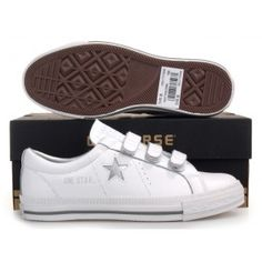 Womens Converse One Star Sneakers Low White-Silver 12e0af849