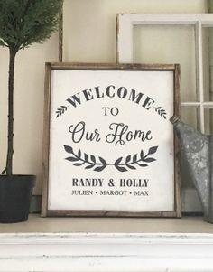 Welcome to Our Home Wood Framed Sign – 18×21 #arworkshop www.arworkshop.com