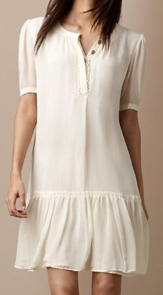 Burberry Brit silk ruffle front dress Burberry Brit effortless round neck silk dress with elegant ruffle front Relaxed silhouette with delicate frill h Mode Outfits, Dress Outfits, Casual Dresses, Jumpsuit Dress, Dress Skirt, Prom Dress, Wedding Dress, Sewing Clothes, Diy Clothes