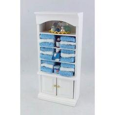 Dolls House Miniature 1:12 Bathroom Furniture Shelf Unit with Blue Accessories