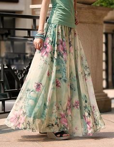 The different varieties of long skirts for women long skirts summer chiffon maxi long skirt summer elegant floral print plus ozpmfpi Modest Outfits, Skirt Outfits, Modest Fashion, Dress Skirt, Modest Clothing, Woman Clothing, Clothing Stores, Pleated Skirt, Long Skirts For Women