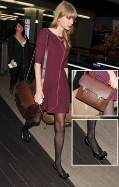 Taylor Swift's Burgundy dress and bow tights at Narita airport Japan.  Outfit details: http://wwtaylorw.com/2291/