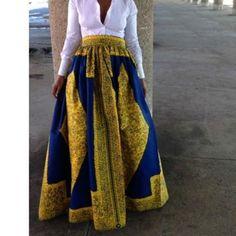 AdoreWe - CHICUU New Women Skirt African Print Ankara Dashiki Bohemian High Waist Pleated A-Line Maxi Flare Skirt - AdoreWe.com