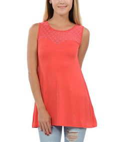 Loving this Coral Lace-Yoke Tank on #zulily! #zulilyfinds