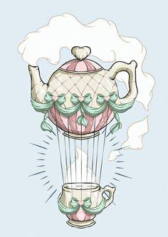 Teapot Hot Air Balloon Art Print