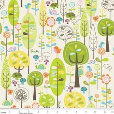 Main Tree Forest in White :: Happier Cotton - Deena Rutter for Riley Blake Designs