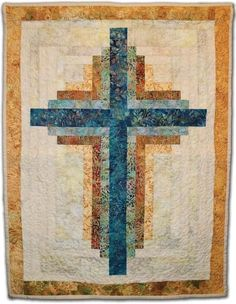 (7) Name: 'Quilting : Small Log Cabin Cross Wallhanging