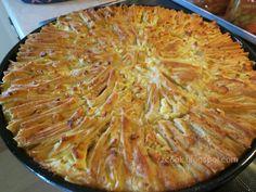 """Νόστιμη συνταγή μαγειρικής από """"zzcook"""" Υλικά: 4 φύλλα μεγάλα χωριάτικα Για το χυλό τυριού: 1 ποτήρι γιαούρτι 1/2 ποτήρι γάλα 1/2 ποτήρι ηλιέλαιο 2 αυγά 3 κουταλιές σιμιγδάλι ψιλό 1 ποτήρι τριμμένο τυρί φέτα 1 ποτήρι ανθρακούχο νερό (σόδα) Για επάλειψη: 1-2 κουταλιές βούτυρο ΕΚΤΕΛΕΣΗ Αλείφουμε το"""