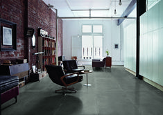 Patina, a refined original version of a ceramic surface with a waxed appearance which, depending on colour, will recall iridescent glints of metal, worn resin or waxed aged terracotta. Refinish Wood Floors, Old Wood Floors, Concrete Floors, 2018 Interior Design Trends, Luxury Interior, Best Flooring, Grey Flooring, Grey Floor Tiles, New Carpet
