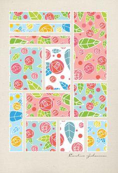 pattern_roses_colored_canvas_poster_print_caroline_johansson