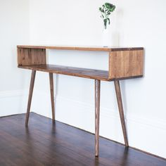 """this is a lovely console and wants to be my roomie for romantic comedies and cheesy TV :: Dimensions: 48"""" L x 28"""" T x 12"""" D; Opening is approx. 9""""H Material: Hand-stained solid wood Attributes: Made to order. Please allow 4-6 weeks for delivery. Attributes: Hand made in USA"""