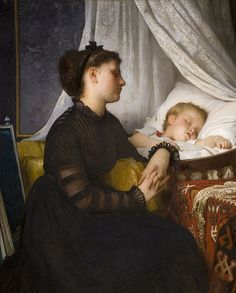 Widowed and Fatherless by Leon Jean Bazile Perrault, 1874