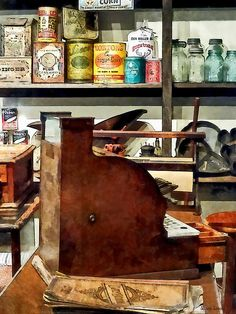Fine Art Print Available! - 'Wooden Cash Register In General Store' by Susan Savad - The general store was where everyone in the town came to buy supplies and groceries. Probably a good place to gossip also. #nostalgia #generalstore #cashregister #nostalgic #vintage AS LOW AS $37