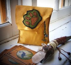 WOLF Tarot Bag medicine bag, spirit pouch with antique trade beads. $54.00, via Etsy.