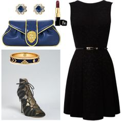 Navy accents balance this entry for the LBD fashion mission