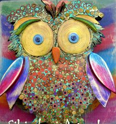 #Andy Warh-owl in mixed media mosaic in wood and mixed media mosaic, see more on my FB https://www.facebook.com/pages/Silvia-Logi-Artworks/121475337893535?ref=br_rs