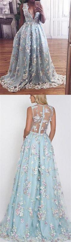 Custom Blue Lace Elegant Prom Dresses, V-Neck Party Dress, Formal Evening Dresses, 6665788 #lacepromdresses