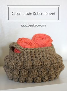 DIY Crochet Jute Bobble Basket Pattern from Persia Lou. This is a free pattern and jute is pretty inexpensive. I have never knit or crocheted with jute - would it be hard on the hands and fingers? I received a really good answer from miscchunks: I'm. Crochet Bobble, Bobble Stitch, Knit Or Crochet, Crochet Stitches, Yarn Projects, Knitting Projects, Crochet Projects, Knitting Patterns, Sewing