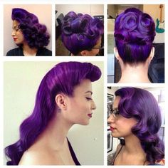 Beautiful Purple Hair Pin Up ♥️ Color Fantasia, Pelo Vintage, Twisted Hair, Rockabilly Hair, Pin Up Hair, Purple Hair, Violet Hair, Turquoise Hair, Neon Hair