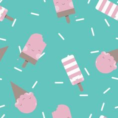 "Grafica di babylab.littlepamy: ""Ice Cream strawberry"" #pattern #thecolorsoup #icecream #geometry #textile #design #style #texture #TCSkids"