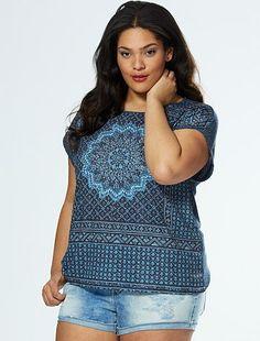 75edc5b53af Camiseta con estampado de mandala con strass azul gris Tallas grandes mujer