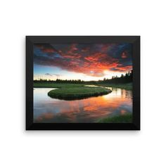 Framed photo paper poster with beautiful sunset on the meandering Gibbon River.