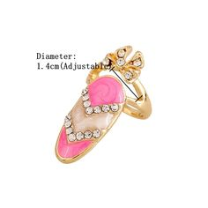 High-quality Sweet Bowknot Inlay Rhinestone Nail Unique Ring - NewChic Mobile.