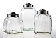 Argh! Sold out:(  This is what I wanted. Glass Canisters, Asst. of 3 on OneKingsLane.com