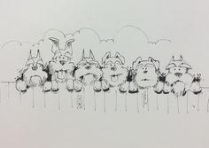 A row of Lotties - Yard ideas Schnauzer Art, Miniature Schnauzer Puppies, Schnauzers, Cute Drawings, Animal Drawings, Cartoon Dog, Dog Art, Painting Inspiration, Coloring Pages