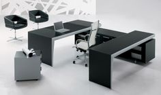 Overlapping desks are always interesting. It'd be nice to see something like this in contrasting colors.