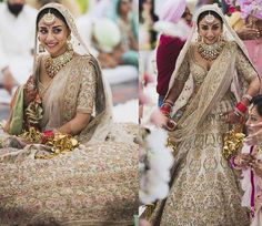 Amrita Puri Walking Under The Canopy Of Flowers Is Nothing Short Of A Dream! Indian Bridal Photos, Indian Bridal Outfits, Indian Bridal Lehenga, Indian Bridal Fashion, Indian Bridal Wear, Indian Designer Outfits, Indian Dresses, Indian Wear, Western Wedding Dresses