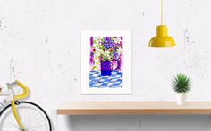 A VIBRANT PRINT WITH STRONG COLOR .HAND PAINTED WATERCOLOR VASE OF MIXED FLOWERS WITH COLORS OF PINK, BLUE, YELLOW, PURPLE, WHITE. BEAUTIFUL WALL ART FOR A FUN FAMILY ROOM OR LITTLE GIRLS BEDROOM WALL. ART FLORAL PRINT FROM WHISTLER ARTIST MARY-JANE G. MOFFETT.