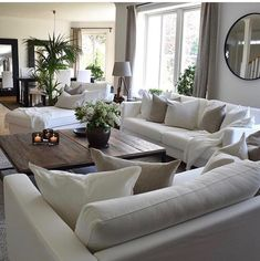 This is the furniture layout I want. home decor ideas cozy living rooms Cozy Living Rooms, Living Room Interior, Home Living Room, Living Room Designs, Apartment Living, Living Room Neutral, Living Room With Plants, Monochromatic Living Room, Living Room Decor Styles