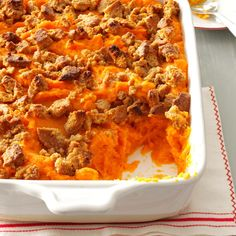 Contest-Winning Sweet Potato Bake Recipe -This is an easy dish to prepare and is a perfect addition to that special holiday meal. The topping is flavorful and gives a nice contrast of textures. —Pam Holloway, Marion, Louisiana