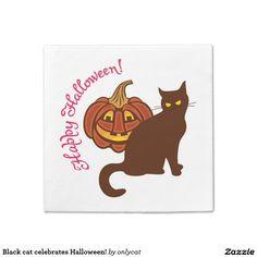 Black cat celebrates Halloween! Napkin