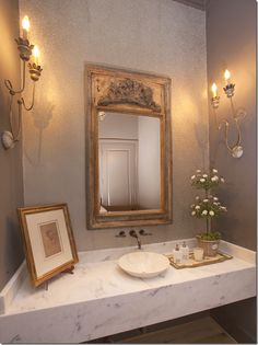 powder room by julie dodsen. love the sconces and trumeau mirror. Home Design, Interior Design, Beautiful Bathrooms, White Bathrooms, Luxury Bathrooms, Master Bathrooms, Dream Bathrooms, Traditional Bathroom, Cool Ideas