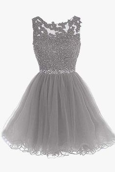 Women Floral Crochet Tulle Sexy A Line Party Dress - Gray, XS