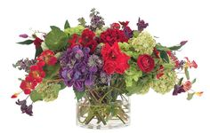 Natural Decorations, Inc. - Hydrangea Rose Red Purple Green, Glass Cylinder